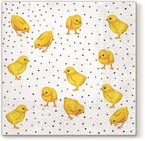 Bilde av Serviett gule kyllinger 33x33cm