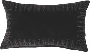 Bilde av Velour pude bomuld m/bloktrykt kant u/fyld, sort